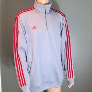 Adidas Mens Gray/Red stripe Athletic Zip Up SZ.XL